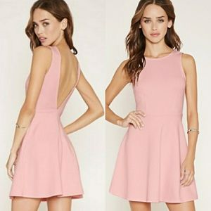 Forever 21 Pink Fit and Flare Low Back Dress